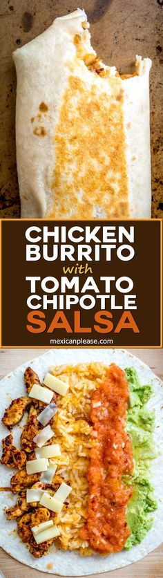 Homemade Tomato Chipotle Salsa gives this Chicken Guacamole Burrito a rich, full flavor. Don't forget to roast those tomatoes. So good! http://mexicanplease.com #mexicanfoodrecipes