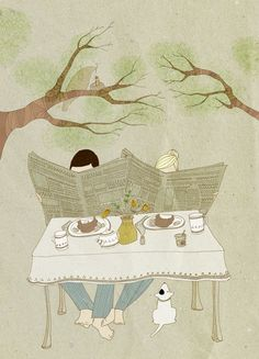 """""""breakfast"""" illustration by julia humpfer, couple reading newspapers together at the breakfast table outdoors"""