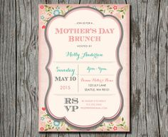 Mother's Day Brunch Invitation  Floral Luncheon by PegsPrints