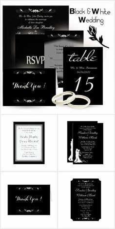 Black and White Wedding Invitation Suites 20% off