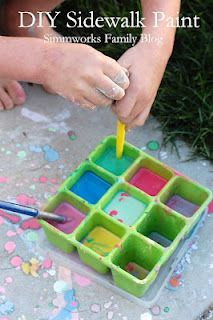 diy sidewalk paint!  totally doing this with the kiddos! :)Anne, Mia would like this!  Angela did it with Dollar Store chalk!