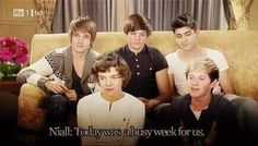 """""""3/5 have chest tattoos"""" """"Niall's braces are removed""""  """"Liam cursed at Paps"""""""
