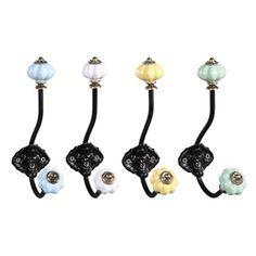 """Metal hook set-• Metal hook set• 7"""" H• Black metal• Assorted color ceramic knobs• Set of 4• Hanging hardware not included"""