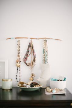 Branch display: http://www.stylemepretty.com/living/2015/03/09/20-creative-ways-to-organize-your-jewelry/