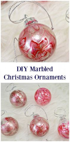 DIY Marbled Christmas Ornaments -