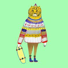 Tiger by Ashley Percival illustrator. illustration - character design - tiger art - artist