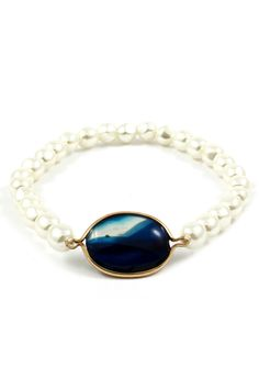 Lapis Bracelet with Pearls