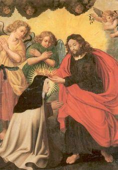 Teresa van Avila. - < 1800. Schilderij België, Brussel, karmelklooster Eerste kroning van Teresa.