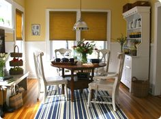 Step one: refinish kitchen table with a darker wood stain  Step two: paint kitchen chairs white