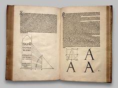 """Pages from Albrecht Duerer famous book on design fundamentals: """"De Symmetria"""" (Unterweysung der Messung), 1525"""
