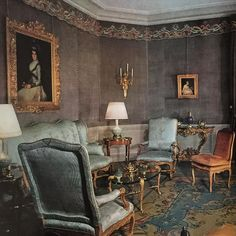 Inspiration: Pierre Delbee of Jansen designed this #parisianinterior furnished with rare #louisquinze period furniture and upholstered walls with embroidery. It was published in 1963. #maisonjansen Space Interiors, World Of Interiors, French Interiors, Interior Design History, Country House Interior, Country Houses, Upholstered Walls, French Furniture, French Decor