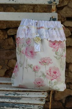 sac pochon shabby chic broderie anglaise rose ancienne