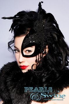 SpellBound Half Mask Fascinator Black Velvet Lace Feather Masked Ball Burlesque Goth Steampunk by Pearls & Swine. £75.00, via Etsy.