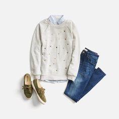 Sweatshirt + button down + jeans Stitch Fix Blog, Stitch Fit, Stitch Fix Fall, Stitch Fix Stylist, Fashion Hacks, Fashion Outfits, Womens Fashion, Fall Outfits, Fashion Ideas