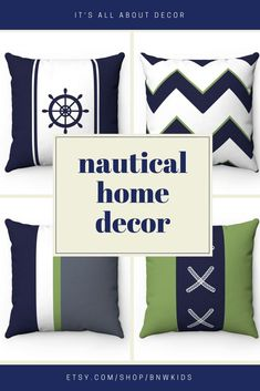 Nautical home decorative pillow covers Nautical Nursery Decor, Nautical Home, Baby Nursery Decor, Nursery Ideas, Kids Bedding Sets, Personalized Pillow Cases, Home Goods Decor, Unique Home Decor, Decorative Pillow Covers