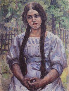 A girl with braids. Portrait of A. A. Dobrinskaya. - Vasily Surikov