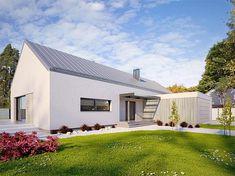 Projekt domu parterowego Alfi o pow. 158,86 m2 z obszernym garażem, z dachem dwuspadowym, z tarasem, sprawdź! Building A House, House Plans, Garage Doors, New Homes, How To Plan, Luxury, Outdoor Decor, Home Decor, House 2