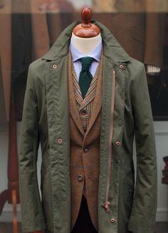 Knit tie. Tweed vest and jacket.