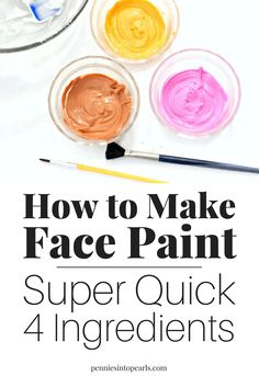 I cant believe how easy it is to figure out how to make face paint! All it takes is four ingredients that you already have at home mixed together in a bowl and done! If you want to know how to make face paint this is the easiest way possible! Face Painting Tutorials, Face Painting Designs, Painting Patterns, Paint Designs, Face Painting Supplies, Paint Supplies, Homemade Face Paints, Homemade Paint, Homemade Face Masks
