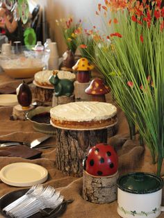 Burlap table covers/Tree trunk pedestals ----- Dessert Bar Forest Friends Baby Shower