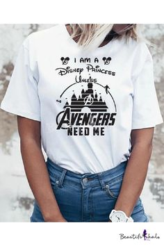Funny Letter Graphic Printed Round Neck Short Sleeve White T-Shirt Cute Tshirts, Funny Shirts, Marvel Fashion, Marvel Clothes, Avengers Clothes, Avengers Outfits, Die Rächer, Funny Letters, Marvel Shirt