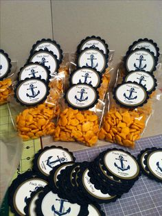 Nautical theme goodie bags with goldfish