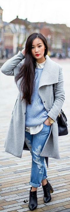 love her sweater and coat. beautiful blues.