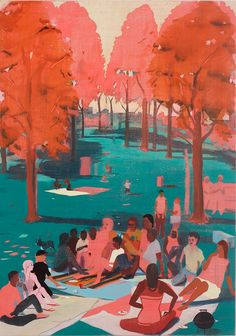 Jules de Balincourt, BBQ sur l'herbe, 2013, Oil on panel