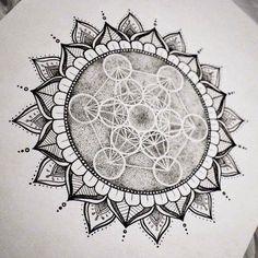 Shop: metatron's cube sacred geometry mandala sun original art print w Sun Mandala, Mandala Sleeve, Mandala Art, Mandala Sun Tattoo, Flower Mandala, Sacred Geometry Symbols, Sacred Geometry Tattoo, Mandalas Painting, Mandalas Drawing