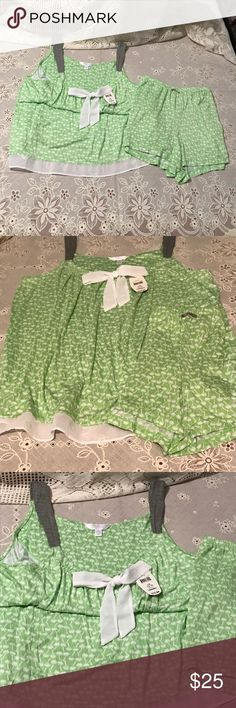 Secret Treasures Shorty PJs Secret Treasures Shorty PJs. So comfy and buttery soft, lime green with a dainty print, with a bow and hemmed with chiffon, just cute as a button.🎀 Excellent condition 🌸 Intimates & Sleepwear Pajamas