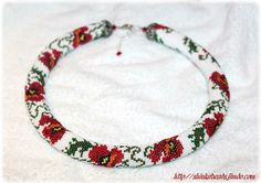 This very bright and the same time elegant and romantic necklace made in bead crochet technique of thousands os seed beads.  Length of the necklace 49cm + 4.5cm extender chain (19.3in + 1.8in) Width - 2cm (0.8in)  This necklace is made of Czech (white) and Japanese Toho seed beads. Its finished with silver metal furniture and memory wire that helps to keep round shape.  It can be worn daily as well as for special occasions.  The necklace will be shipped carefully packed…