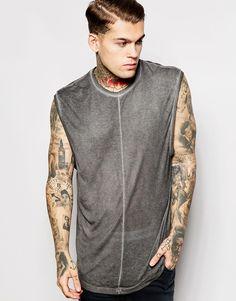 ASOS Super Longline Sleeveless T-Shirt With Drop Hem And Exposed Seams