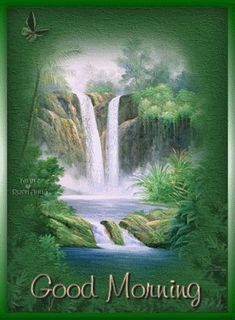 Good Morning quote nature flowers birds waterfall friend good morning greeting morning quote