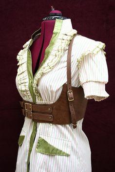 Lucille Brown Leather Underbust Harness Belt Steampunk Victorian Inspired Corset Belt Thin Shoulder Strap