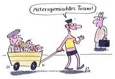 Kindergarten_KiGaPortal_Cartoon_Renate Alf_Altersgemischtes Team