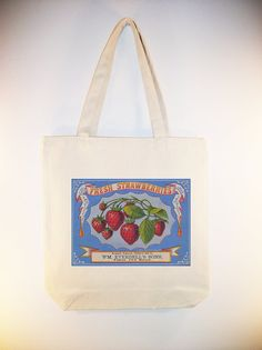 Gorgeous Strawberries Vintage Label Canvas Tote by Whimsybags, $12.00