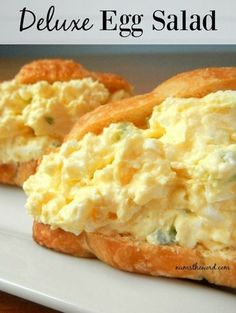 This Classic Egg Salad gets an upgrade with boiled eggs, cream cheese, celery and croissants! This unique egg salad sandwich is the best! Egg Salad Sandwiches, Sandwich Recipes, Egg Recipes, Lunch Recipes, Cooking Recipes, Sandwich Ideas, Egg Mayo Sandwich, Tea Party Sandwiches, Croissant Sandwich