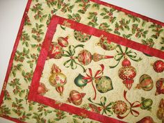 Christmas Table Runner  Ornaments quilted  fabric from Kaufman Flourish Line 2014 by Peggy Toole on Etsy, $39.00