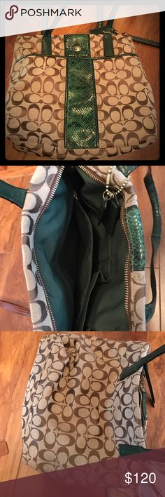 Coach python green purse Beautiful coach purse with python Trim.  Was carried one and I'm just doing some end-of-the-year cleaning , i'm a mother of two and now I don't get out as much it's a shame these beauties have to stay up in the closet Bags