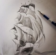 Jake Weidmann drawing in the sails for his new piece.  #drawing #pencil #art