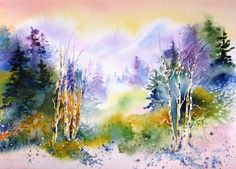 "Contemporary Landscape Artists International: ""Aspen Morning"", Original Watercolor Painting by C..."