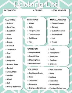 Free Printable: Vacation Packing Checklist Don't forget something important the next time you pack for vacation! Check out this free printable travel packing checklist and rest easy! Vacation Packing Checklist, Packing List Beach, Road Trip Packing List, Camping Packing, Vacation Deals, Vacation Pack List, Travel Packing Lists, Travel Deals, What To Pack For Vacation