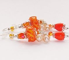 Sterling Silver Orange EarringsmPearl Cluster Earrings SRA Lampwork Glass Beads Peach Pearls Swarovski Crystals Vintage re-claimed Teardrops
