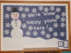 This was inspired by a pin...I added snowflakes for all my kid's names! Winter snowman bulletin board
