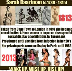 ~ Question For Women ~ Since when is a woman's value based on the shape of her backside or breasts? #BlackHistory - Sarah Baartman