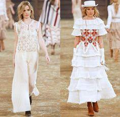 Chanel 2014 Pre Fall Womens Runway Presentation - Pre Autumn Collection Looks Dallas Texas - Old American Western Frontier Native American Indian Cowgirl Ethnic Folk Ornamental Decorative Art Patterns Chunky Knitwear Lace Ruffles Denim Jeans Poncho Fringes Outerwear Coats Culottes Palazzo Pants