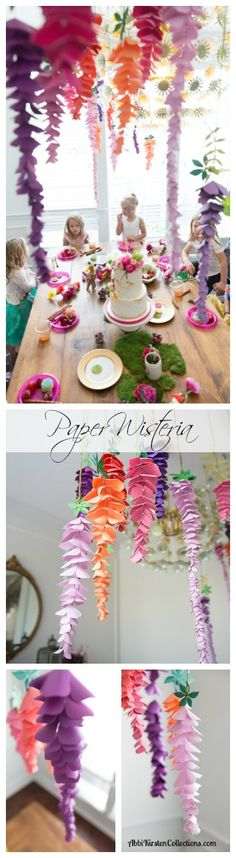 "How to make paper wisteria Most of you know that paper flowers are totally ""my thing"" I am on a mission to attempt to create pretty much any kind of flower that exist in nature into paper flowers. Today I'll be sharing how I came up with this paper hanging wisteria design. Wisteria is …"