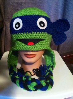 free ninja turtles crochet hat patterns | Crocheted Ninja Turtle Hat