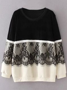 Fleece Lined Lace Panel Sweatshirt - BLACK XL