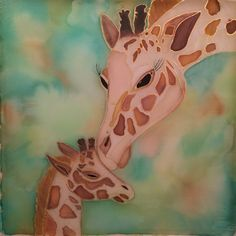 Mother and baby giraffe - silk painting by Tatiana Iseborn Young Silk Art, Mother And Baby, Silk Painting, Silk Scarves, Wearable Art, Etsy Seller, Hand Painted, Giraffes, Creative
